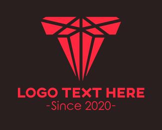 Mining - Red Crystal Gem Letter T logo design