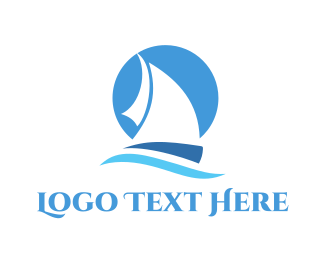 Boating - Blue Sailboat logo design
