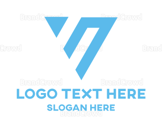Outlines - Abstract Blue Triangle logo design