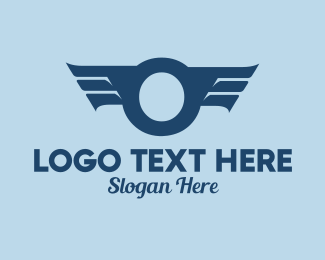 Air Force - Blue Letter O Wings  logo design