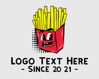 Halftone - Cartoon French Fries Chips logo design