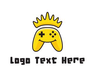 E Games - Yellow Smiling Controller logo design