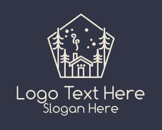Motel - White Winter Cabin logo design