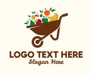 Farmers Market - Healthy Fruit Wheelbarrow  logo design