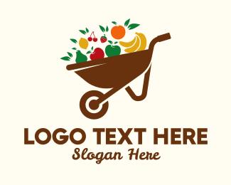 Market - Healthy Fruit Wheelbarrow logo design