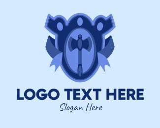Weapons - Blue Axe Emblem  logo design