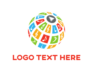 Music - Music & Globe logo design