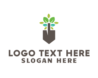 Shovel - Leafy Shovel logo design