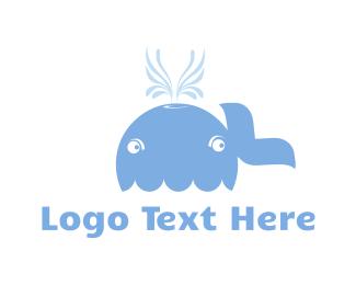 Blue Whale Cartoon Logo