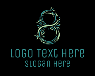 Octagon - Floral Number 8 logo design