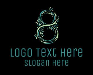 Number 8 - Floral Number 8 logo design