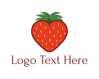 Farmers Market - Strawberry Fruit Love Heart logo design