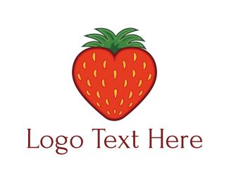 Harvest - Strawberry Heart logo design