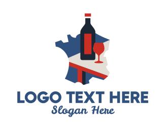 French - French Wine Tasting logo design