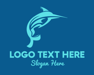 Island - Blue Sword Fish logo design