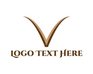 Letter V - Brown Letter V logo design