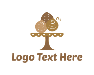 Brown Cupcake - Chocolate Dessert  logo design