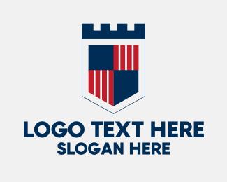 Rook - Castle Flag Shield logo design