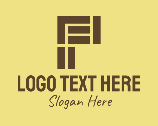 Tiler - Brown Brick Letter P logo design