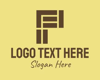 Tetris - Brown Brick Letter P logo design