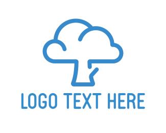 Streaming - Blue Cloud Tree logo design