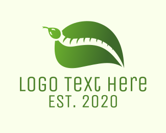 Snake - Green Leaf Snake logo design