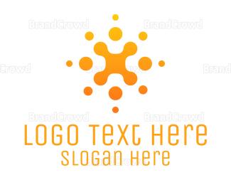 Cell - Gradient Orange Cellular Particles logo design