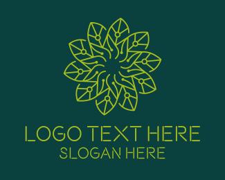Biotechnology - Technology Circuit Flower logo design