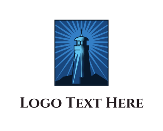 Beach - Blue Lighthouse  logo design