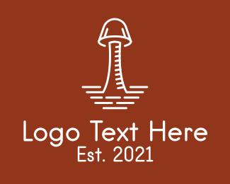 Mushroom - White Organic Mushroom logo design