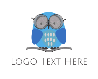 Eyeglasses - Blue Learning Owl logo design