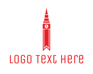 Big Ben - Red Clock Tower logo design