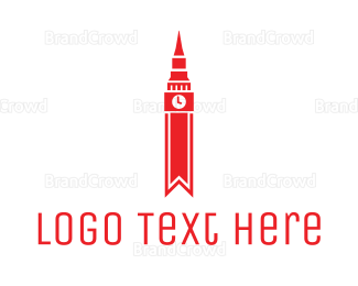 England - Red Clock Tower logo design
