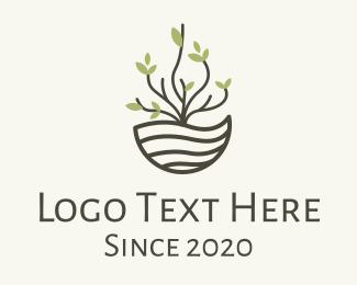 Tree - Plant Pot Coconut Husk logo design
