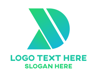 Purple Triangle - Green Shape D logo design