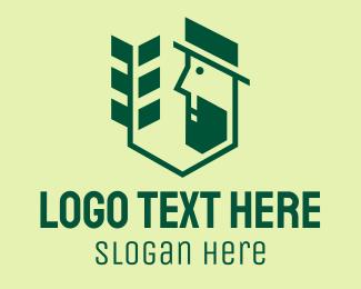 Evergreen - Green Gardener Man logo design
