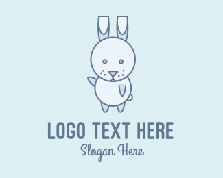 Rabbit Ears - Cute Dancing Rabbit logo design