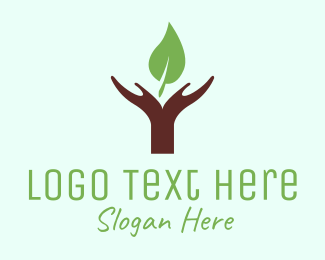 Green House - Hands & Leaf logo design
