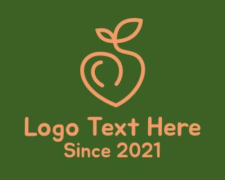 Peach - Peach Heart Fruit  logo design