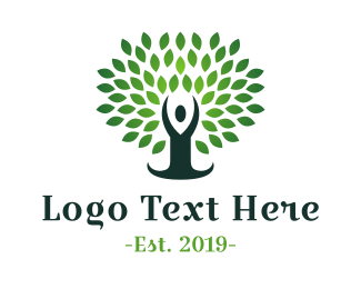 Human Tree - Green Yoga Tree logo design