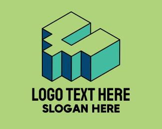Pop Art - 3D Pixel Letter V logo design