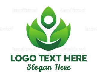 Pure - Green Flame Leaves logo design