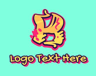 Teenager - Graffiti Art Letter K logo design