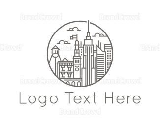 Downtown - City Buildings logo design