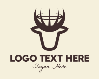 Stag - Brown Bull Globe logo design