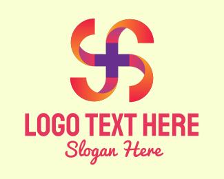 Spiral - Gradient Spiral Cross logo design