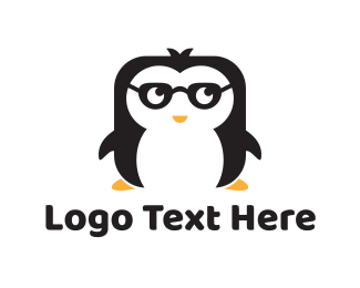 Black Bird - Nerd Penguin logo design