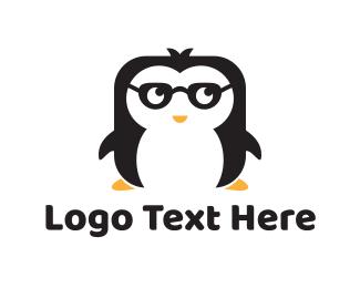 Penguin - Nerd Penguin logo design