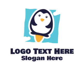 Playroom - Popsicle Penguin Launch logo design
