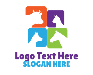 Animal - Colorful Animal Silhouettes logo design